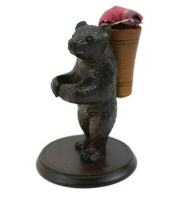 Victorian French Antique Black Forest Bear Sewing Thimble Holder and Pin Cushion