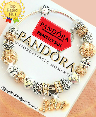 Authentic Pandora Charm Bracelet Silver Bangle with Gold European Charms New Box