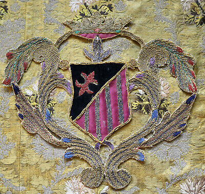 Antique Embroidered Coat Of Arms Heraldic Applique Armorial Textiles Royal Crown