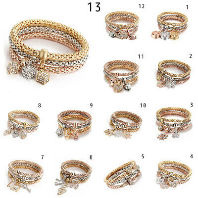 3Pcs/Set Crystal Charm Bracelet Bangle Gold & Silver Plated Pendant Rhinestones
