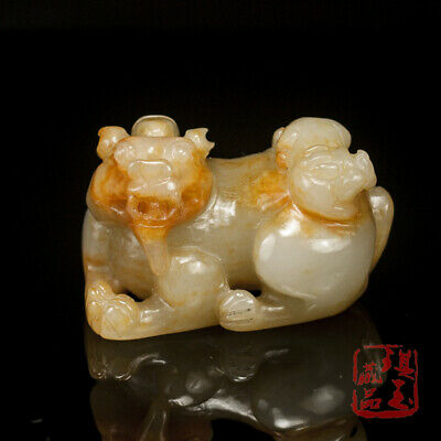 China antique 100% Natural carved hetian white jade double beast Hand piece