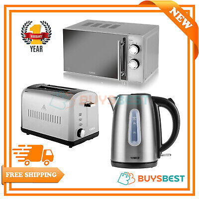 Tower Infinity 20L Manual Microwave, 1.7L Kettle & 2 Slice Toaster Set Silver