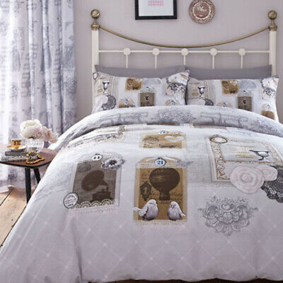 Antique Collage x2 Single Duvet Sets and a Pair of Matching Eyelet Curtains