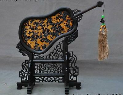 """13"""" Rare China Dynasty Rosewood wood Carving Fan Screen Sculpture Statue"""