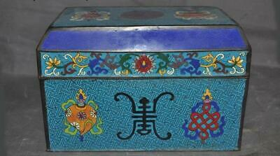 China old purple copper Cloisonne Enamel color eight treasures Storage box case
