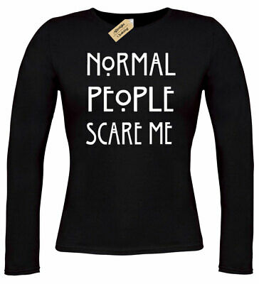 Womens Normal People Scare Me T Shirt funny goth rock punk emo ladies long top