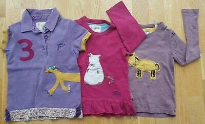 Joules 3-4 years girl short-sleeved tops polo shirt applique country animal set