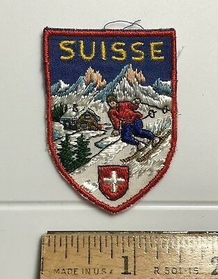 Suisse Switzerland Swiss Alps Skier Skiing Ski Souvenir Small Patch Badge