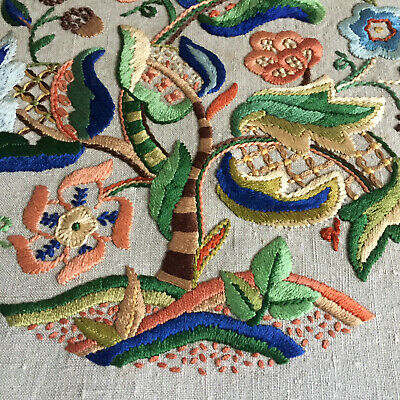 Vintage Crewel Work Jacobean Style Embroidery Panel needlework linen 1950's