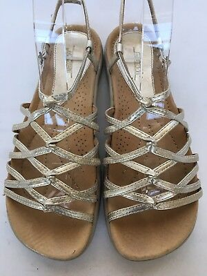 1243e3c7013f Earth Women Sizzle Gold Leather Strappy Slingback Sandals Size 8B Buckle  Comfort
