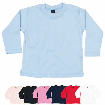 Baby Toddler Boy Girl Plain Long Sleeve Cotton T-Shirt Top Tee Ages 0 to 2 Years