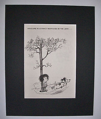 Dog Cartoon Print Norman Thelwell All Tied Up Bookplate 1964 8x10 Matted Cutie