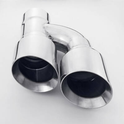 """Staggered Dual 4"""" Outlet Offset 3"""" Inlet Double Layer Stainless Steel ExhaustTip"""
