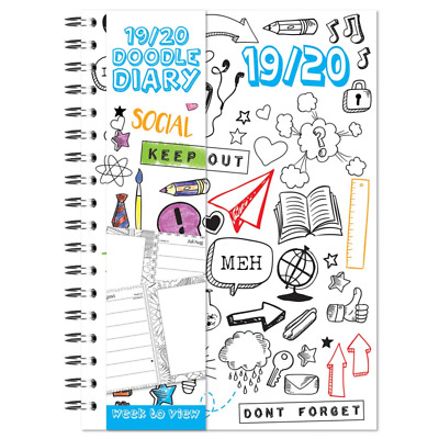 2019 - 2020 A5 Academic Diary Week to View Colour Your Own Mid Year Planner WTV