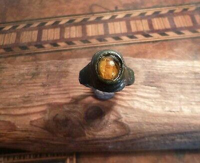 Huge Roman Ring with Amber-Beautifully Fashioned & Uncleaned-Detecting Find