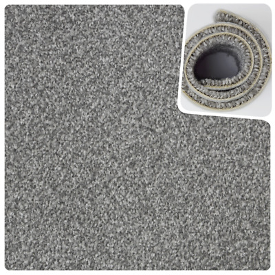 HARDWEARING Mid Grey Felt Back Twist Pile 4m Wide Carpet Remnant/Roll End