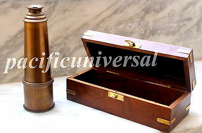 SOLID BRASS Telescope With Wooden Box  Anchor Marine Vintage Working Spyglass.