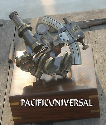 """Antique Heavy Brass Sextant 4"""" With Box Ship Working Replica Instrument Gift"""
