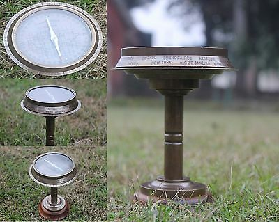 Vintage Maritime Brass Compass with world time for 24 countries Desk Decorative.