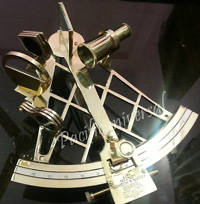 "10"" Nautical Handmade Shiny Sextant With Wood Box Marine Working Brass Sextant."