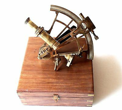 Handmade Henry Barrow & Co, Sextant Vintage Wooden Box Marine Ships Instrument.