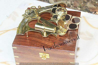"""6"""" Solid Brass Working Sextant W/Box Marine Astrolabe Sextant Collectible Royal"""