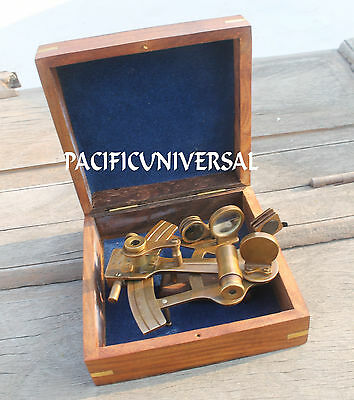 Antique Marine Solid Brass Collectible Sextant With Wooden Box Ship Working Item