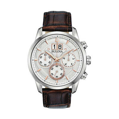 Men's Bulova Classic Chronograph Brown Leather Strap Watch #96B309