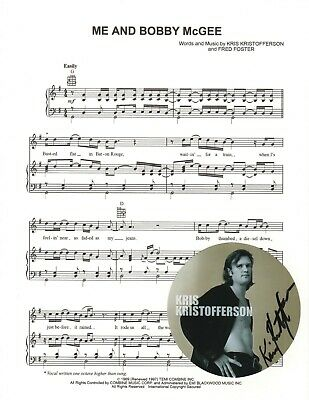 Kris Kristofferson REAL hand SIGNED Me And Bobby McGee sheet music #1 COA