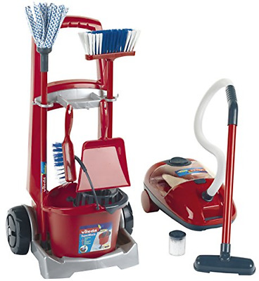 Theo Klein 6742 Vileda Cleaning Trolley with Vacuum Cleaner, Toy, Multi-Colored
