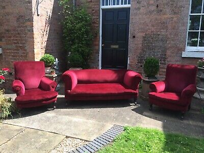 Antique Edwardian Drop End Sofa Suite In Dark Red Velour Working Condition