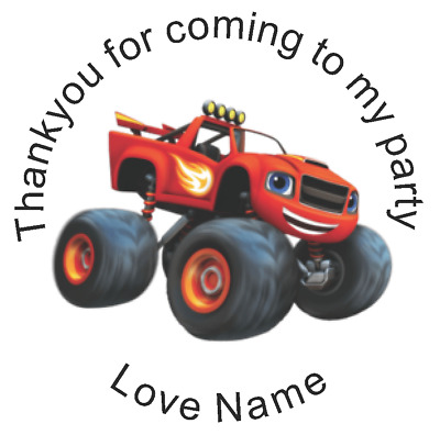 24 Personalised thank you for coming to my party blaze starla pickle crusher