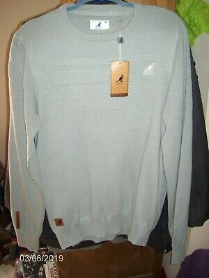 6725241bf5e KANGOL MEN'S WAFFLE Knit Crew Neck Pullover Sweater ~ Size L ~ Light Green  ~ NWT