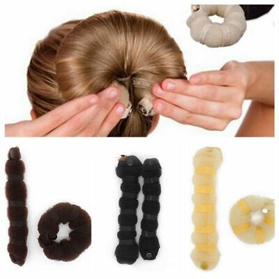 2Pcs Set Women Girl Hair Styling Clip Stick Sponge Donut Bun Maker Shaper Tool
