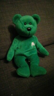 9960e07d89e TY BEANIE BABIES ERIN Irish Bear. Rare (Numbered and Misprinted ...