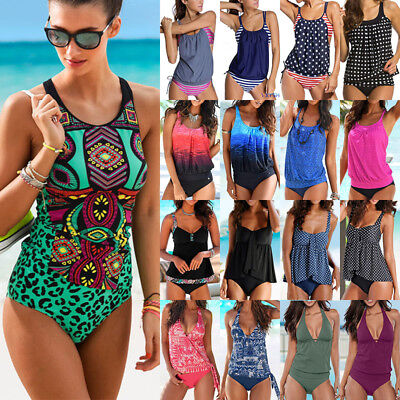 e933e833054 Womens Blouson Sporty Tankini Sets Swimwear Top Plus Size Swimsuit Bathing  Suit