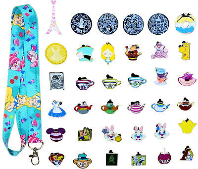 Alice in Wonderland Starter Lanyard Set with 5 Themed Disney Trading Pins ~ NEW