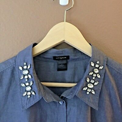 c71acc09 Womens Ann Taylor Blue Jeweled Collar Button Front Dress Shirt Top Size 16  XL