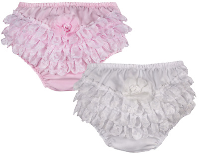 Baby girl FRILLY KNICKERS lace pants nappy cover FLOWER christening