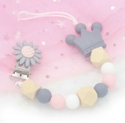 Silicone Flower Dummy Clip Pink Grey Natural