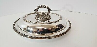 Good Quality Antique Vintage Silver Plated Tureen Serving Dish Beaded Design