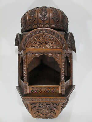 Antique Oriental carved wood wall altar # D9903