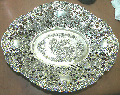 Antique Vintage German 800 Solid Silver Pierced Repousse Bowl Cherubs
