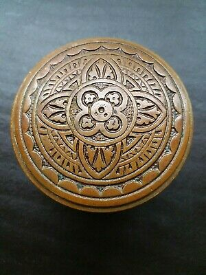 Beautiful Antique Victorian Eastlake Brass Door Knob Drum Corbin H 24700 1881