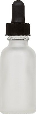 25 Pack Frosted Glass Boston Round Bottle w/ Black Glass Dropper 1 oz