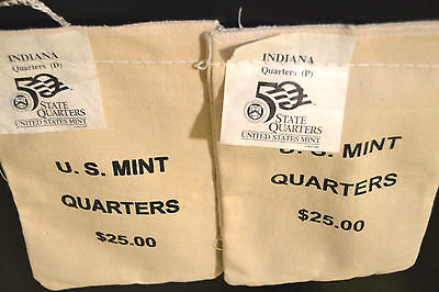 2002 Indiana, Louisiana or Mississippi P&D State Quarters 2 sewn Bags 200 coins