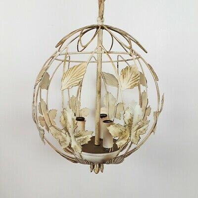 50's Bird Cage Tole Ball Hanging Light Chandelier Round Metal Leaves 8805