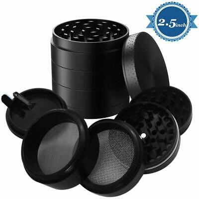 "Large Spice Tobacco Herb Weed Grinder-5 Pcs with Pollen Catcher 2.5"" Black"