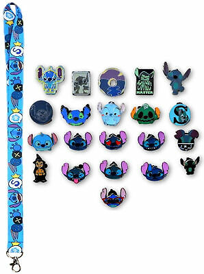 Stitch Lanyard with 5 Lilo & Stitch Themed Disney Trading Pins Starter Set - NEW
