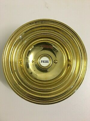 """Antique Victorian Style Brass Electric 6⅝"""" Round Door Bell Push Press (QP239)"""